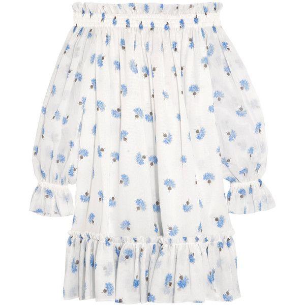 83b86f1aa4 Alexander McQueen Off-the-shoulder floral-print cotton-voile mini ...