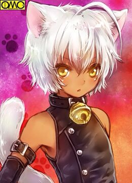 dark skinned neko girl with white hair and yellow eyes