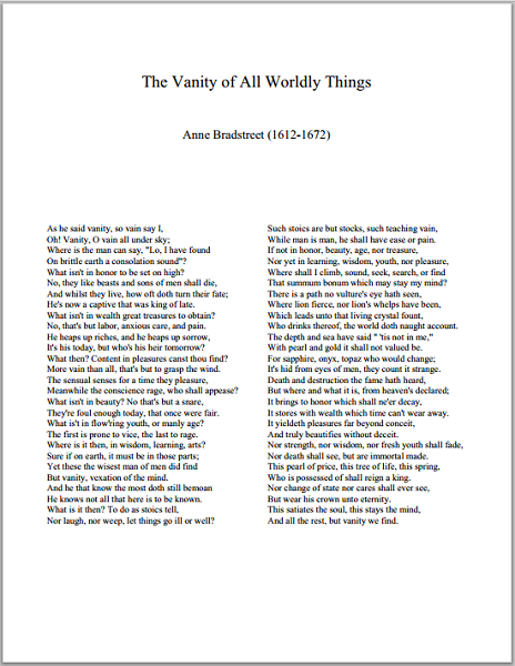 The Vanity of All Worldly Things by Anne Bradstreet - Free Printable Poem