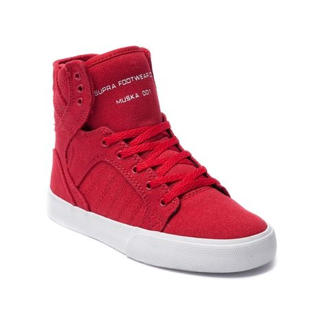 Shop for YouthTween Supra Skytop Skate Shoe in Red at Journeys Kidz. Shop today for the hottest brands in mens shoes and womens shoes at JourneysKidz.com.The Skytop from Supra is Chad Muskas signature skate model. Features include a canvas upper, vulcanized gum rubber outsole, polyurethane insole, mesh sock liner, and a full-length midsole injected with SupraFoam--providing entire foot impact resistance, optimal shoe flex and board feel.