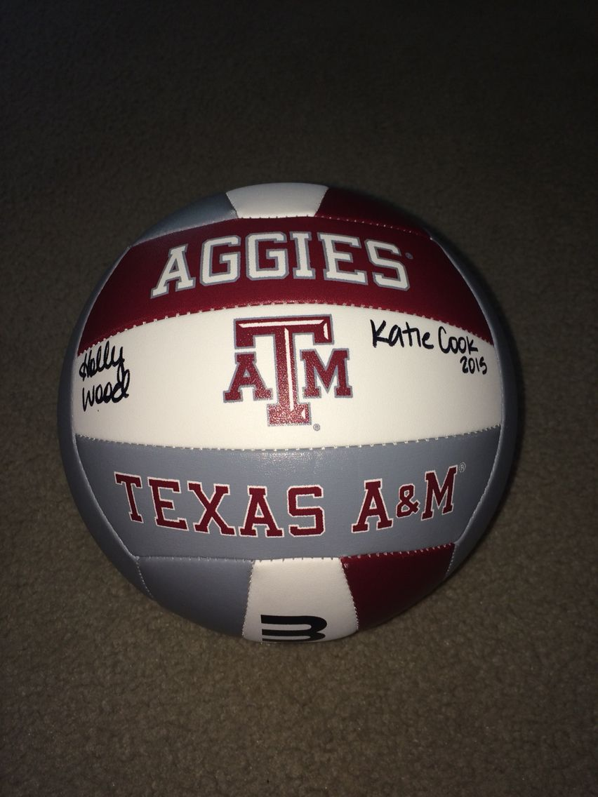 Texas A M Volleyball Camp Was So Much Fun I M Pretty Sore But It S Worth It This Is My Volleyball Signed By The Players Texas Aggies Texas A M Volleyball Camp