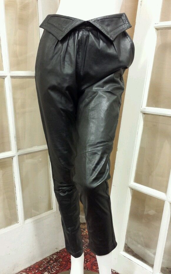 Vintage Michael Alle High Waisted Black Leather Lined Pants with Pockets #MichaelAlle