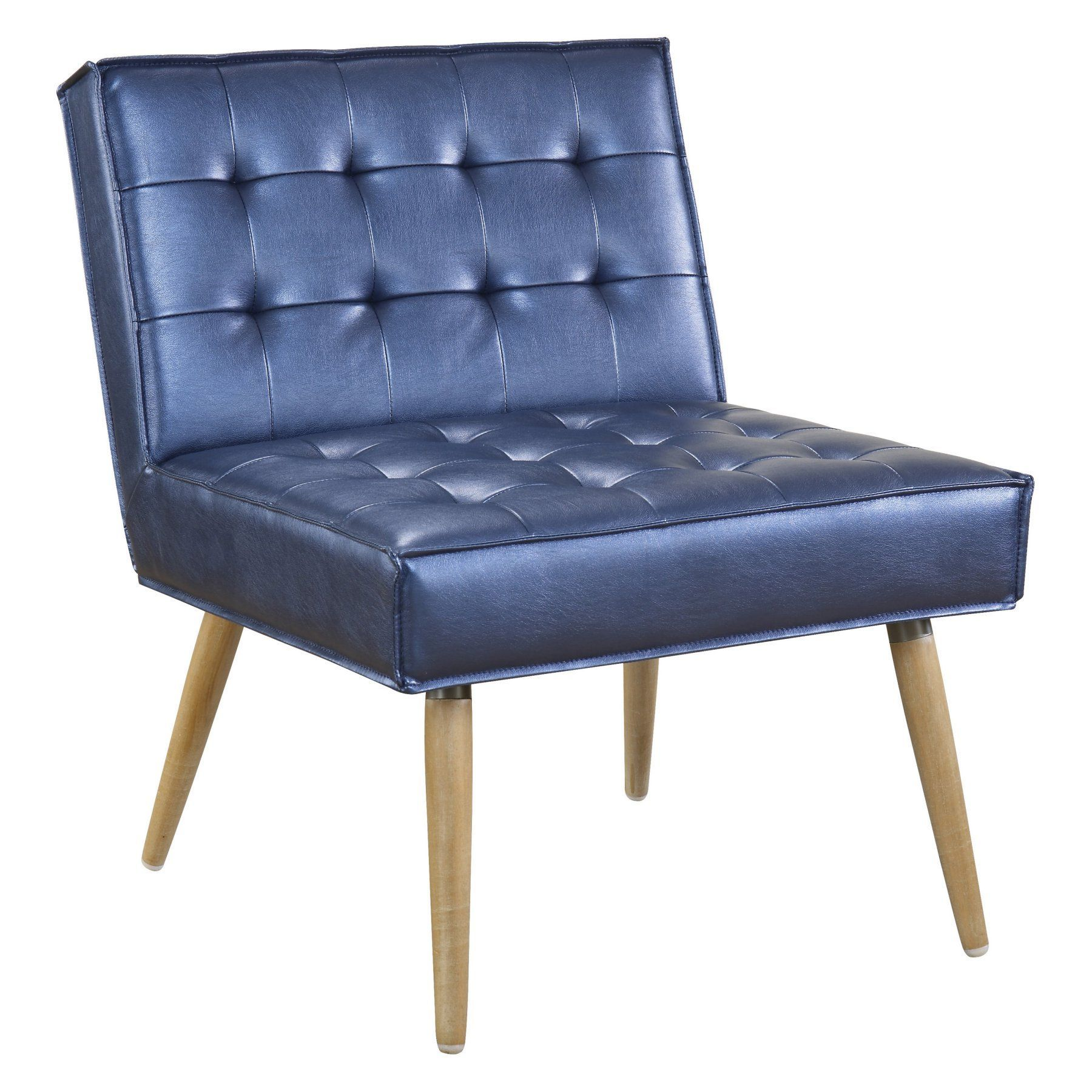 Ave Six Amity Chair Tufted Accent Sizzle Azure Silver: Ave Six Amity Tufted Accent Chair - AMT51T-S54