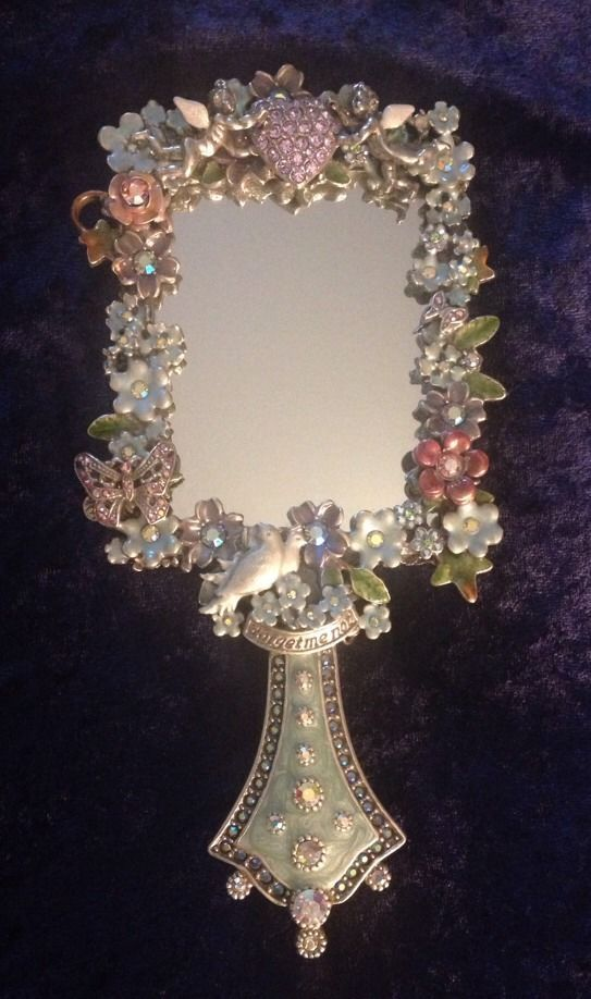 Kirks Folly Forget-Me-Not Garden Hand Held Mirror~Retired~ Beautiful Piece #KirksFolly