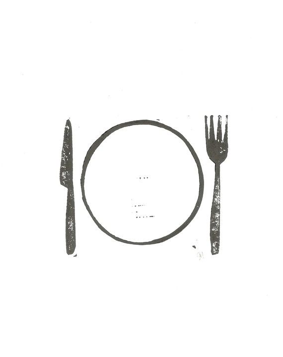 linocut - table setting