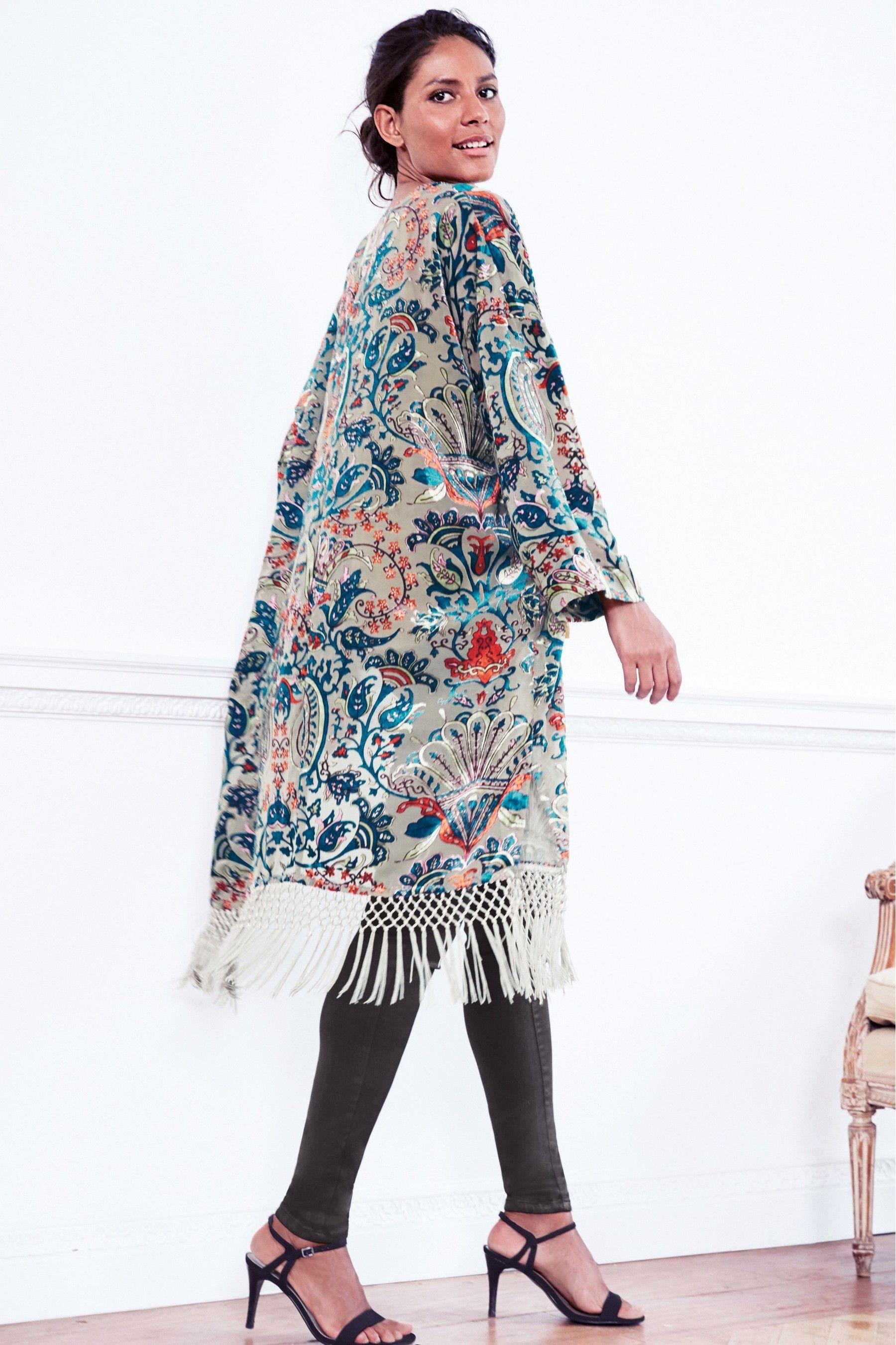 7e531c1cd5 Buy Khaki Burnout Fringe Kimono from Next Australia | кимоно ...