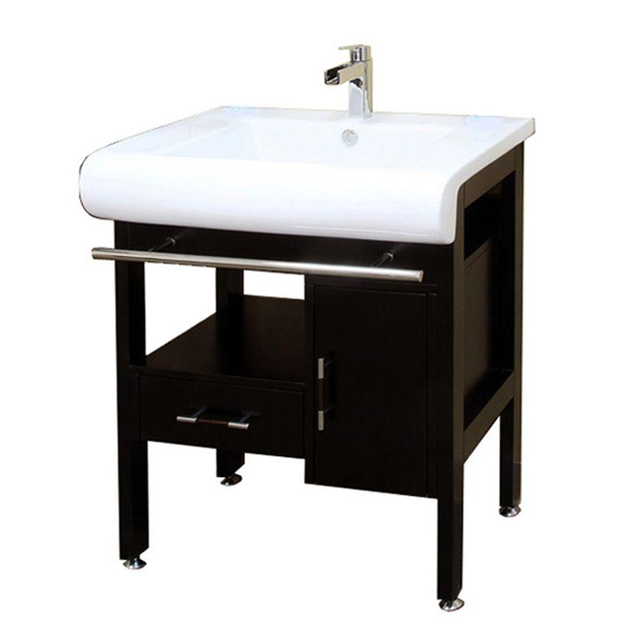 Bellaterra Home Dark Espresso Undermount Single Sink Birch Bathroom Vanity With Natural Marble Top