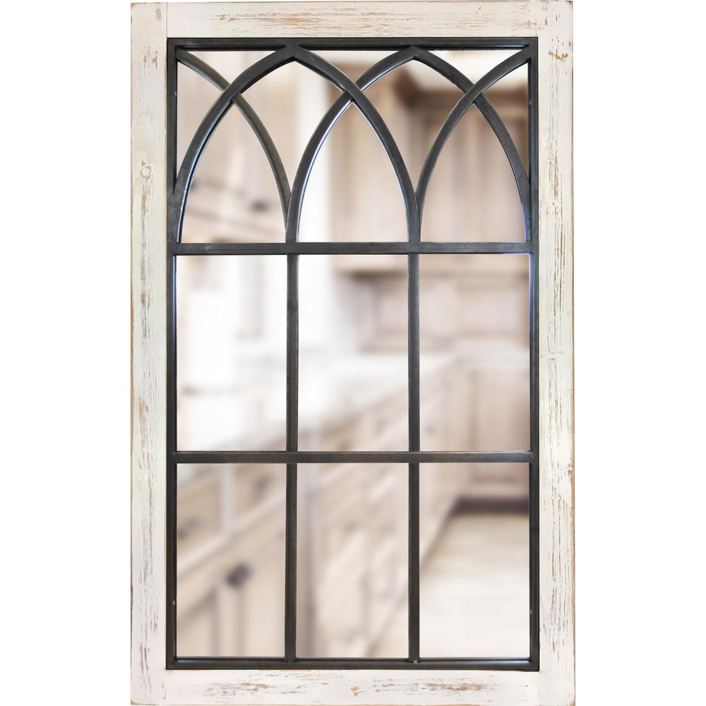 Firstime Medium Rectangle Distressed White Classic Mirror 37 5 In H X 24 In W 70024 The Home Depot Arched Window Mirror Window Mirror Arched Windows