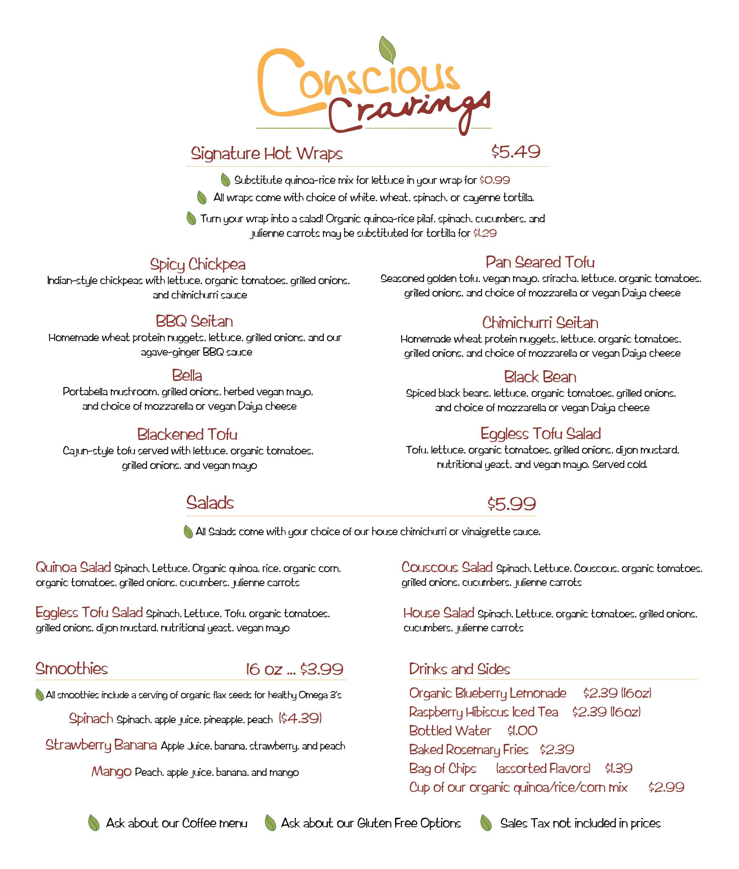 Conscious cravings vegetarian menu austin tx vegan