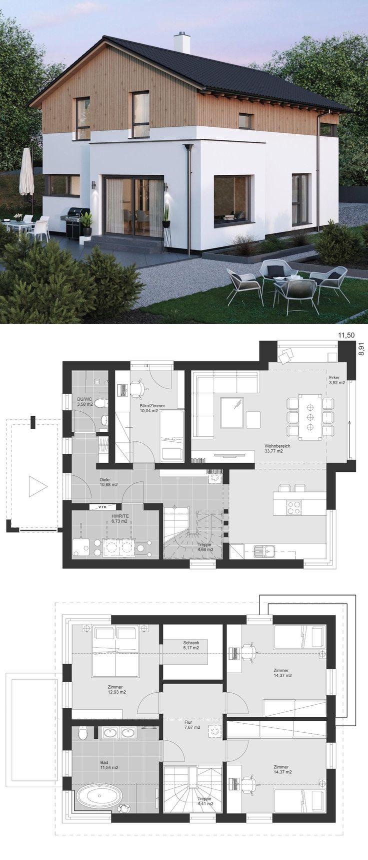 Einfamilienhaus modern im Landhausstil Grundrisse mit Satteldach Architektur, Er… – Holz ideen  – Holz ideen