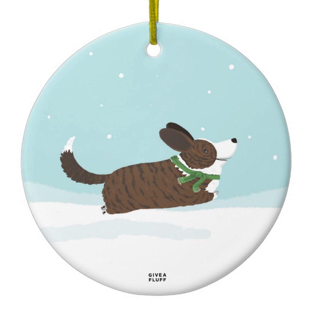 Corgis in the Snow Ceramic Ornament | Zazzle.com ...