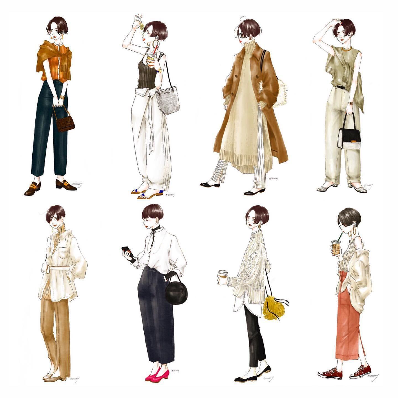 いつかのショートちゃん達 #ショートヘア#ファッションイラスト#コーデ ...