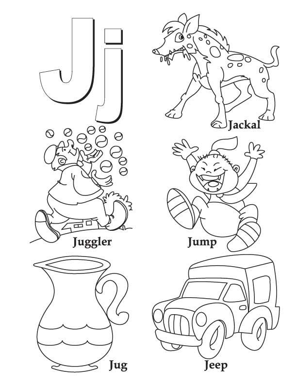 My A To Z Coloring Book Letter J Coloring Page Alphabet Coloring