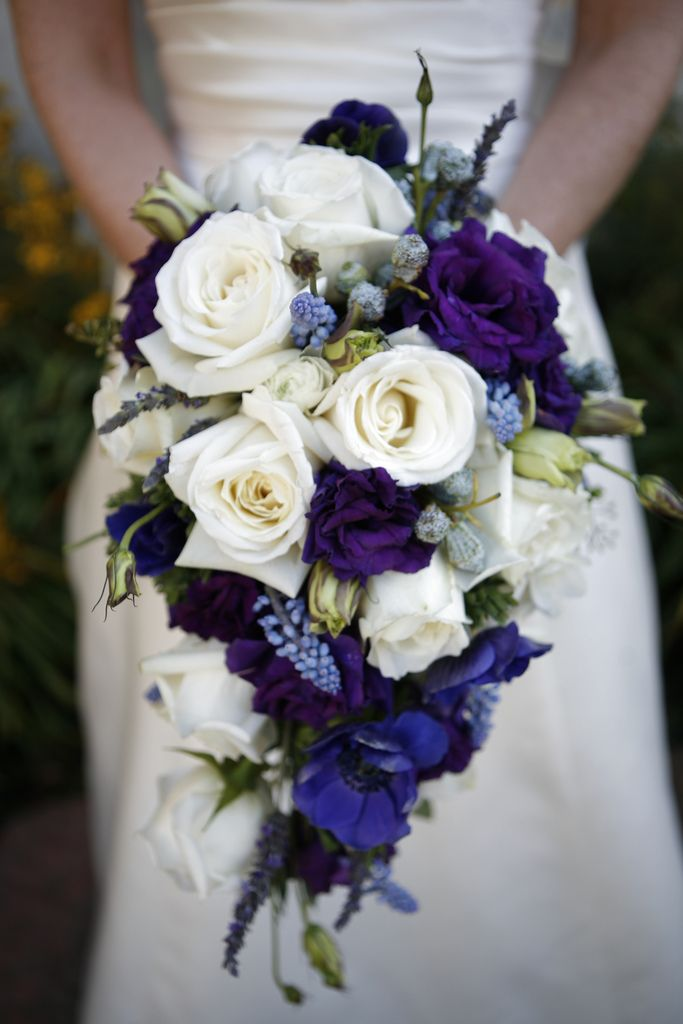 My bouquet | Cascade bouquet, White roses and Deep purple