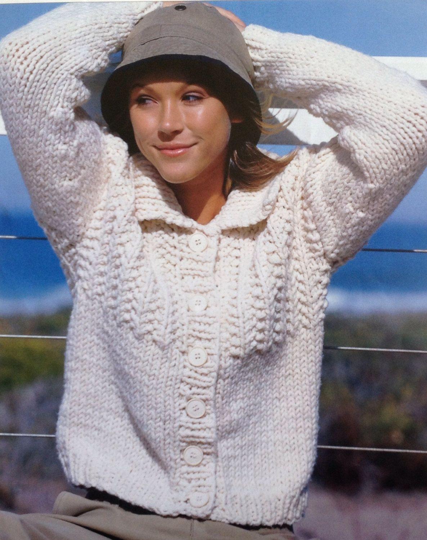 Knitting Pattern Ladies/ Woman\'s Super Chunky Quick Knit Cardigan ...