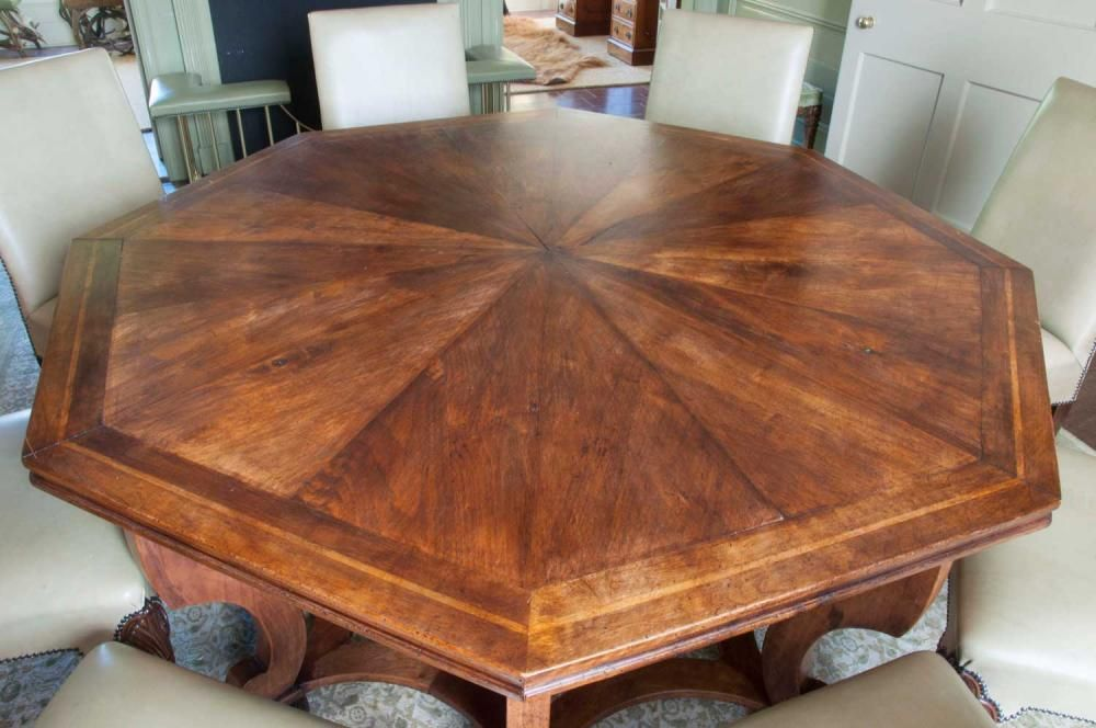 An Oak Parquetry Octagonal Dining Table From Musk Farm Made By