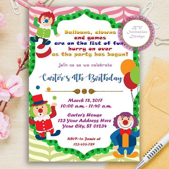 Circus Clown Birthday Invitation Circus Birthday Invite My