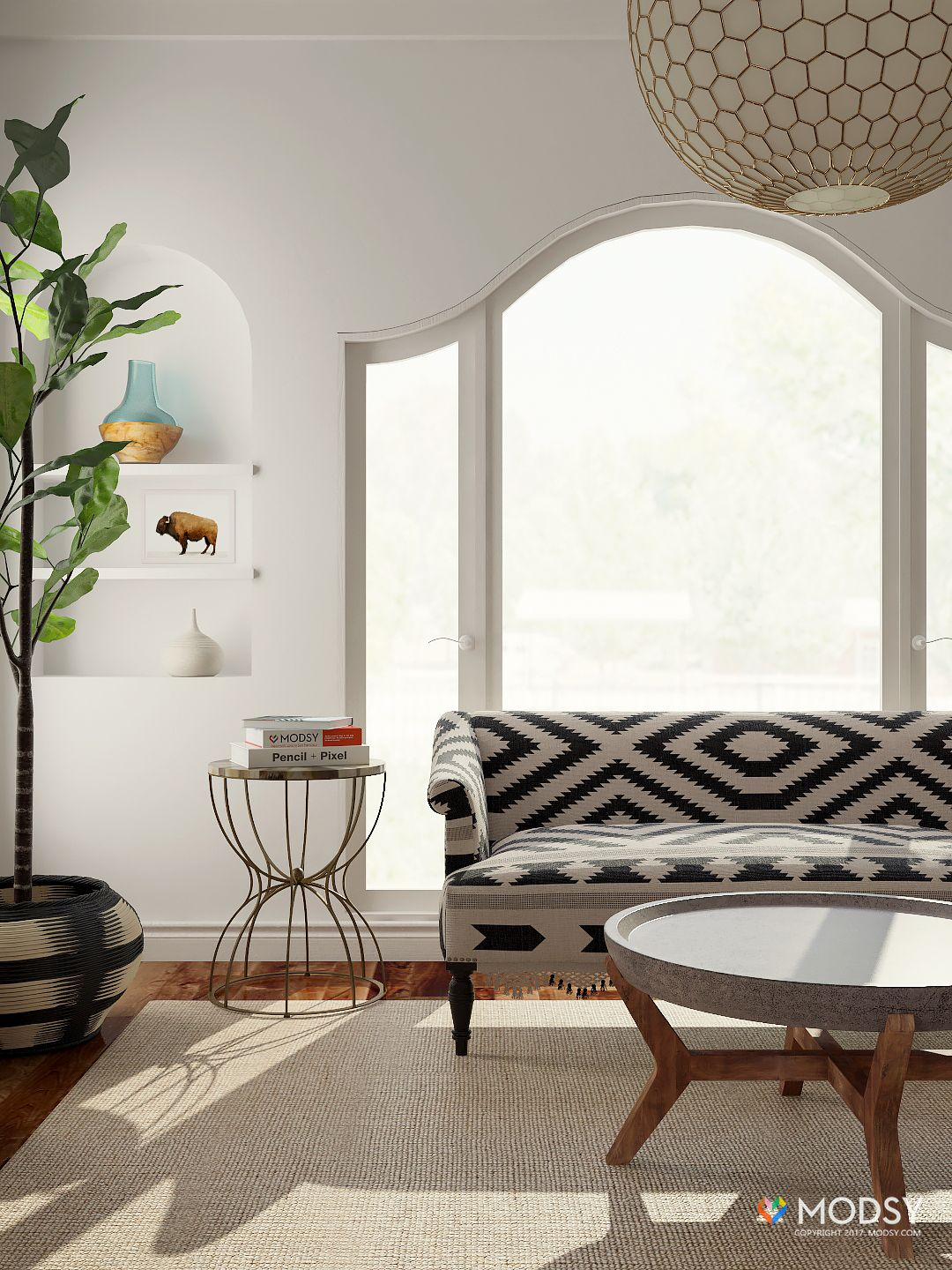 Minimal Bohemian Living Room: A natural and eclectic living space ...