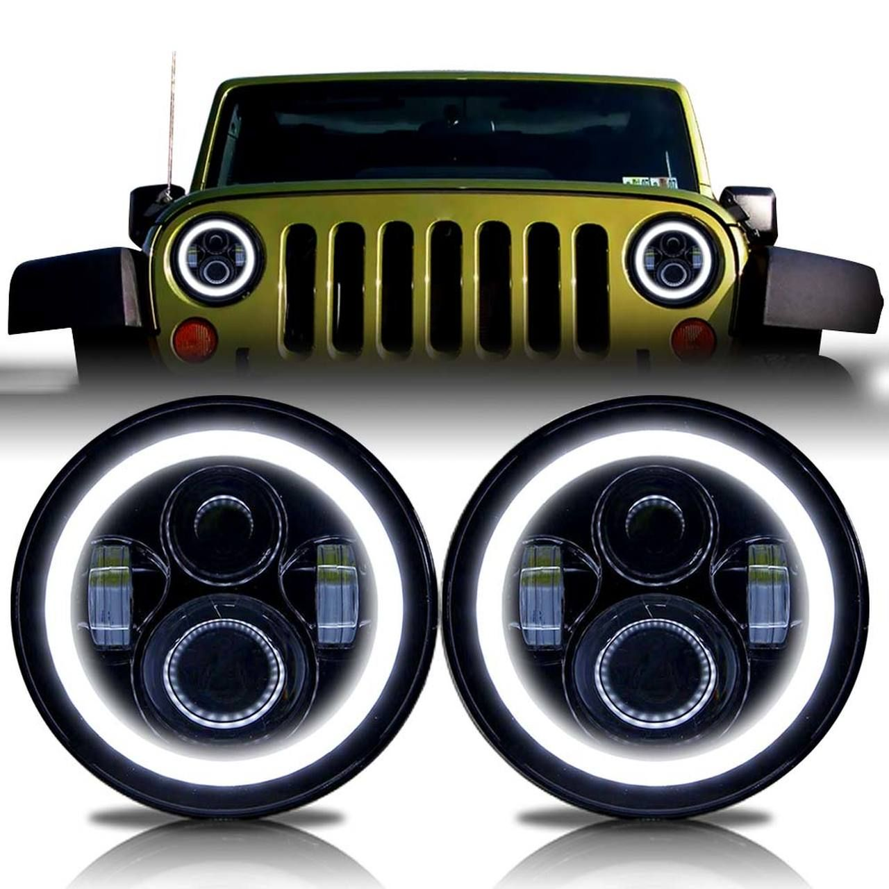 Halo Projector Black Led Headlights For Wrangler 1996 2018 Jeep