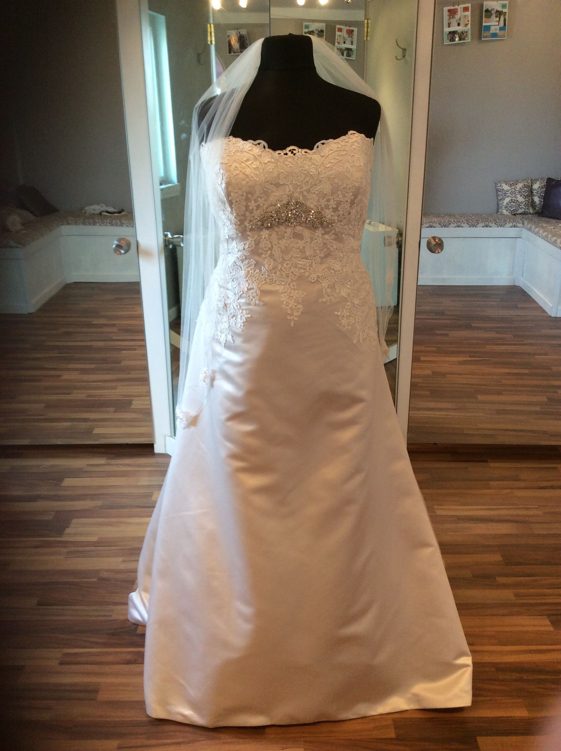 Satin and lace bridal gown available at the only place for ...
