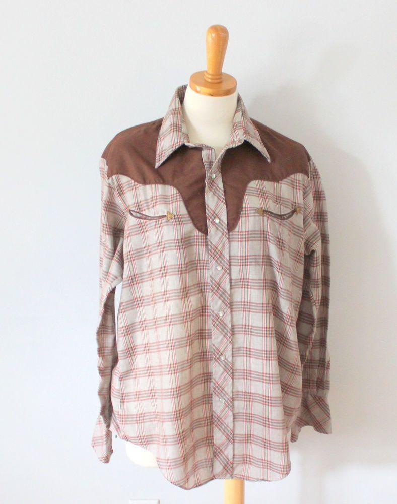 a68b27a553 Vtg 70s Millers Western Wear retro plaid Snap button Shirt men Large cowboy  F1  Wrangler  Western