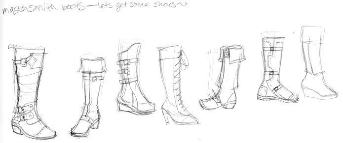 I always have a problem drawing shoes and boots and feet and everything