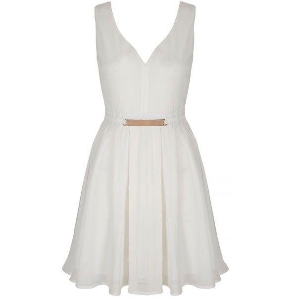 New Ladies Sleeveless Belted Black White V Neck Skater Women/'s Dress