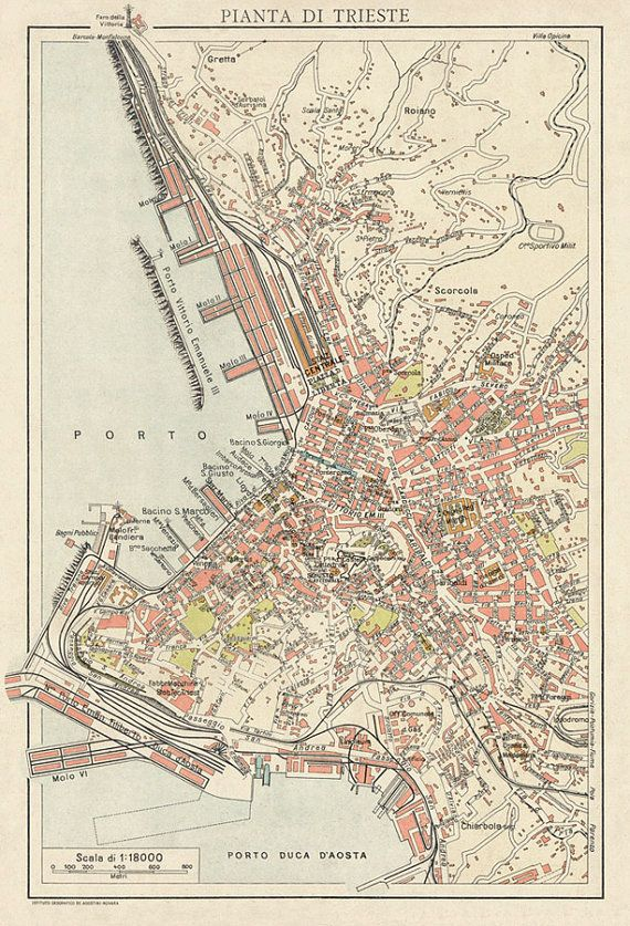 Vintage Map Of Trieste Italy Map Old Map Trieste