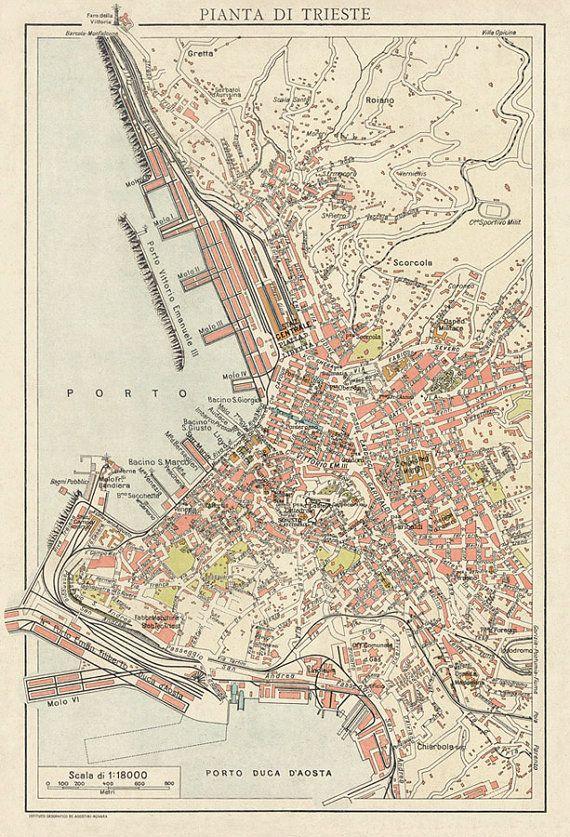 Map of Trieste Old map Pianta di Trieste Trieste Vintage maps