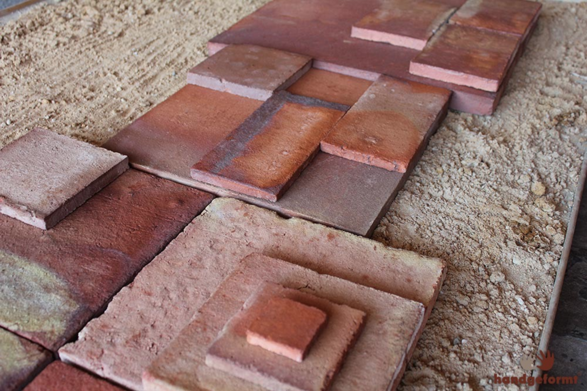 handmade ash look clay brick tiles from Lahore Pakistan