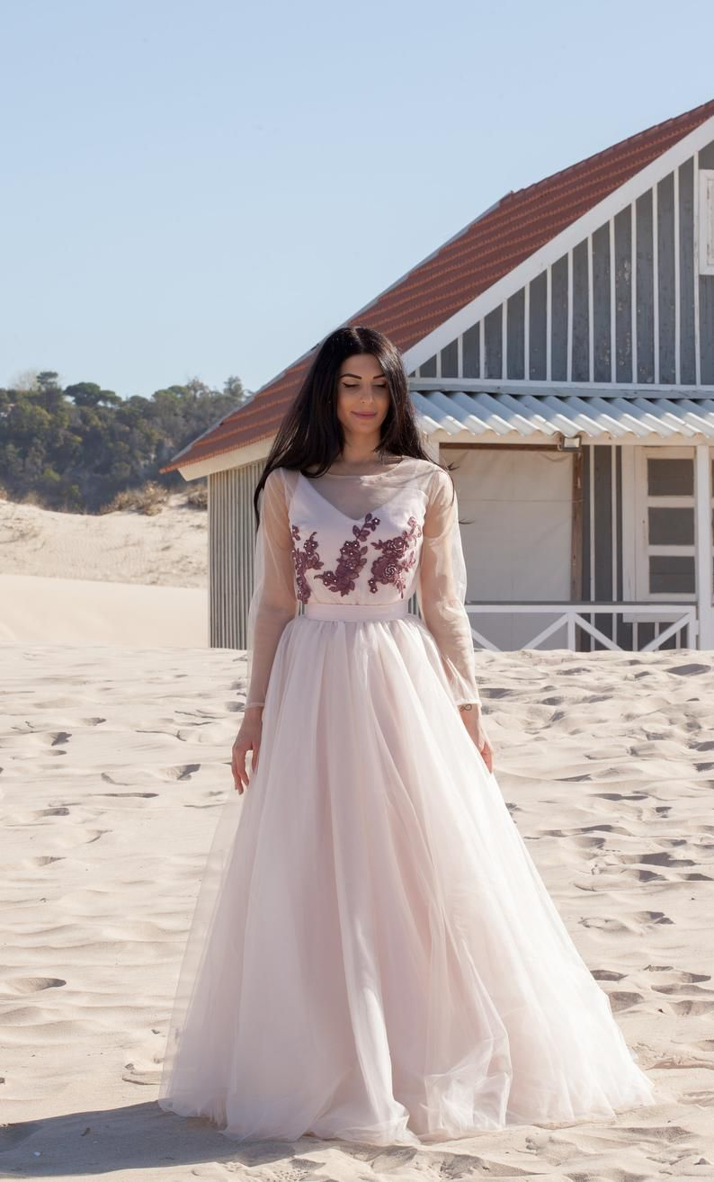 Boho wedding dress lace long sleeve simple ivory