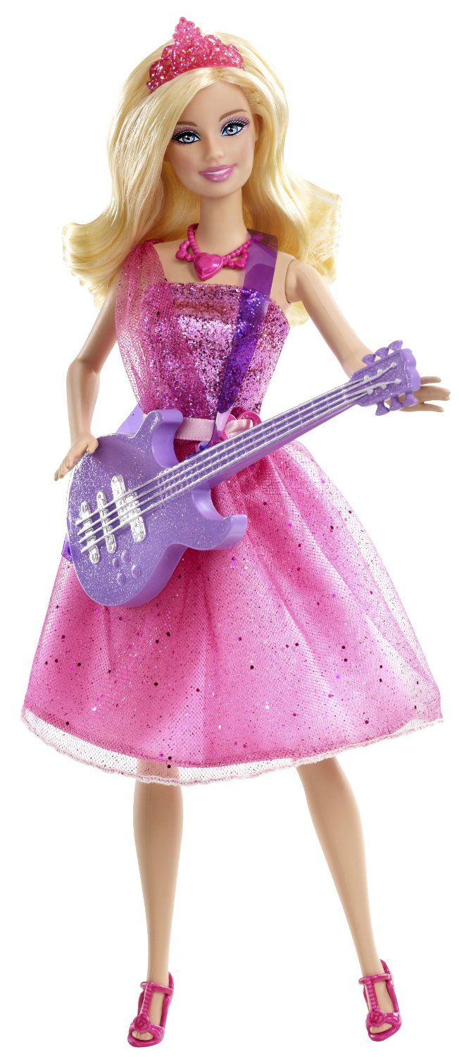 NEW PINK /& BROWN GUITAR FOR BARBIE DOLL WITH BLUE SHEER SHOULDER STRAP
