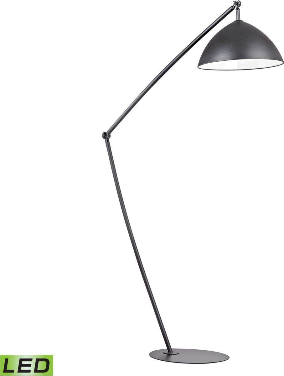 Industrial Elements 1 Light Led Arch Floor Lamp Matt Black Black Floor Lamp Floor Lamp Adjustable Floor Lamp