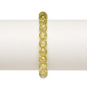 Bracelet, stretch, crackle glass, dark olive, 7-8mm round, up to 7 inches. Sold individually.