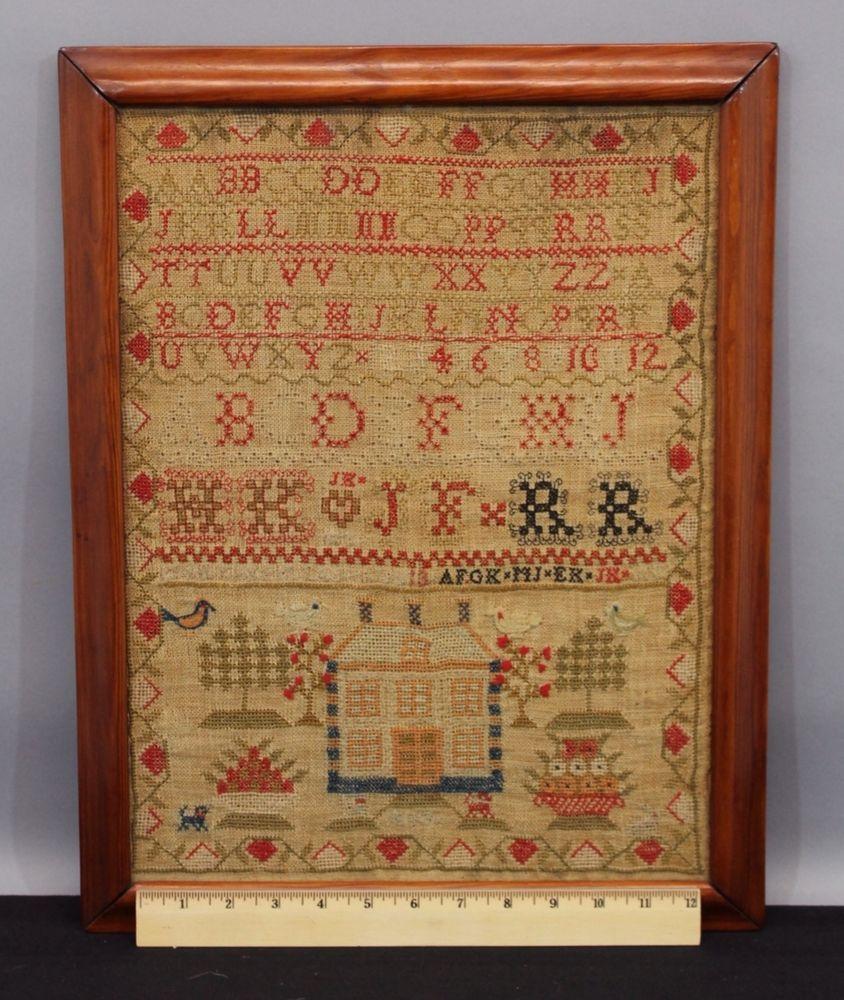 Antique Early 19thC Scottish Folk Art Primtive Mary Keiller Embroidery Sampler