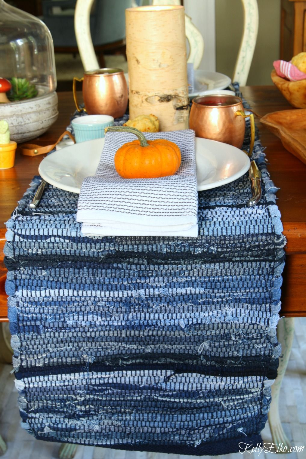 Love This Fresh Fall Table Setting   Use Two Table Runners From HomeGoods  And Lay Them Across The Table Instead Of Using The Usual Placemats  Kellyelko.com ...