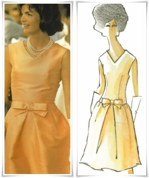Oleg Cassini design sketch & finished results for Jackie Kennedy ...