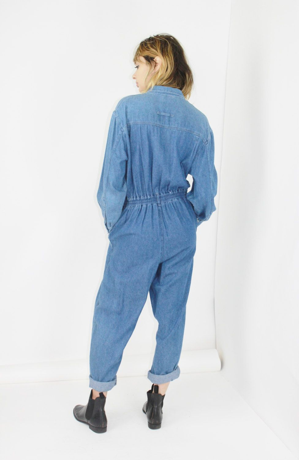 5db227f22e01 denim JUMPSUIT industrial workwear jean jumpsuit long sleeve one ...