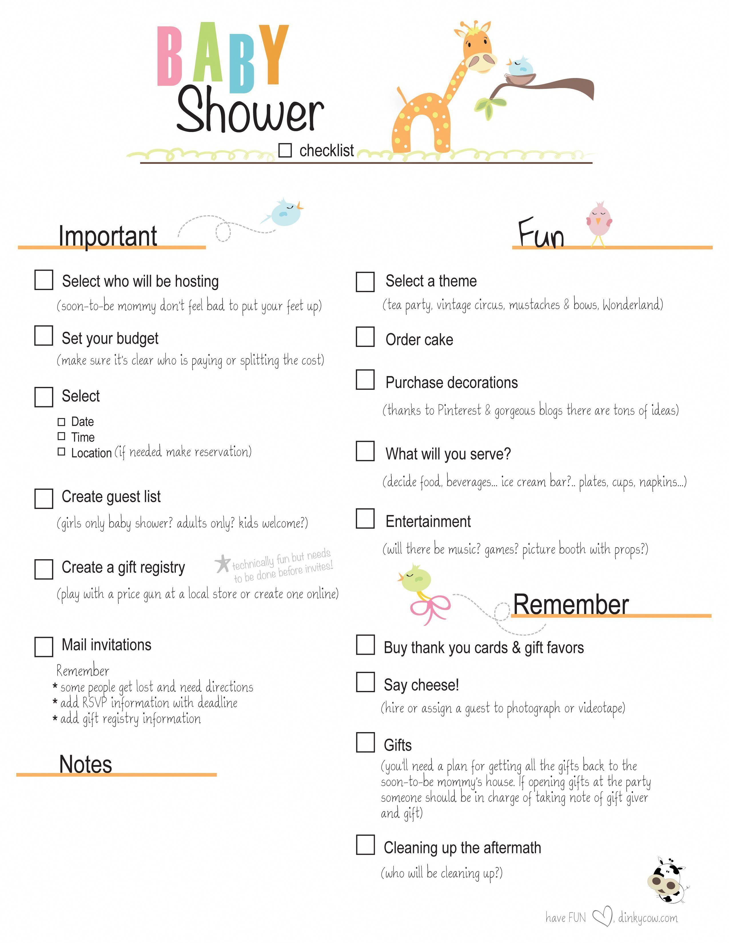 Free Printable Baby Shower Checklist