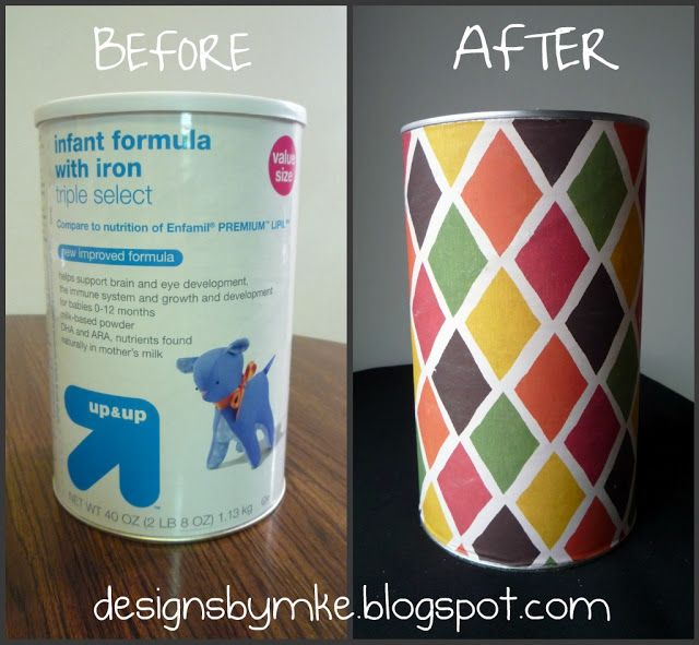 Upcycling Formula Cans By Mandy S Krafty Exploits Baby Formula Cans Formula Cans Formula Can Crafts