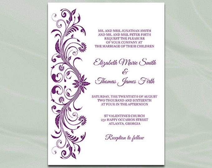 Diy Purple And Silver Foil Wedding Invitation Template Comes As An Editable High Quality