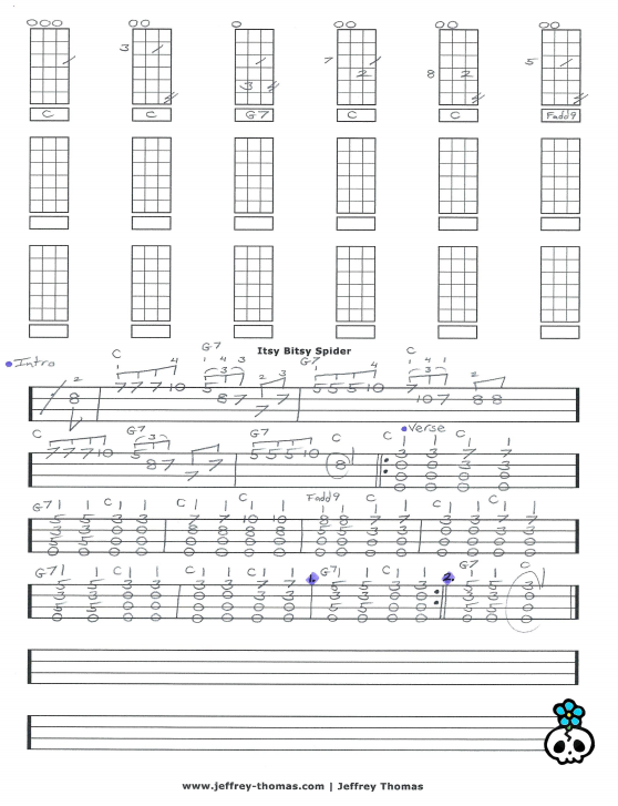 Itsy Bitsy Spider Ukulele Tab By Jeffrey Thomas Learn This Classic
