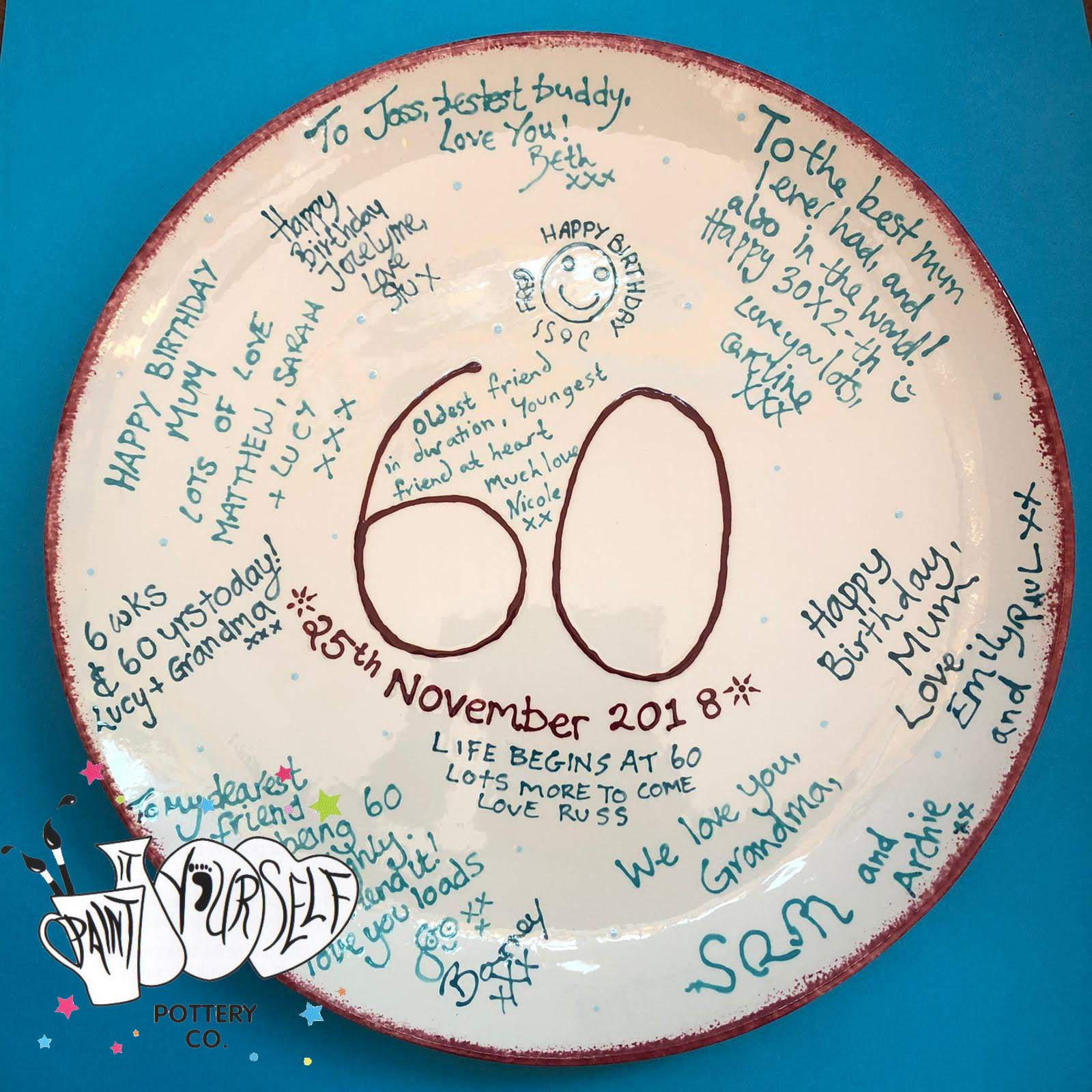 60th Birthday plate in 2020 Birthday plate, Painting for