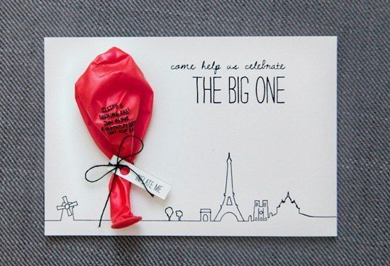 Hand Crafted Invitation Card With Balloon For A First Birthday