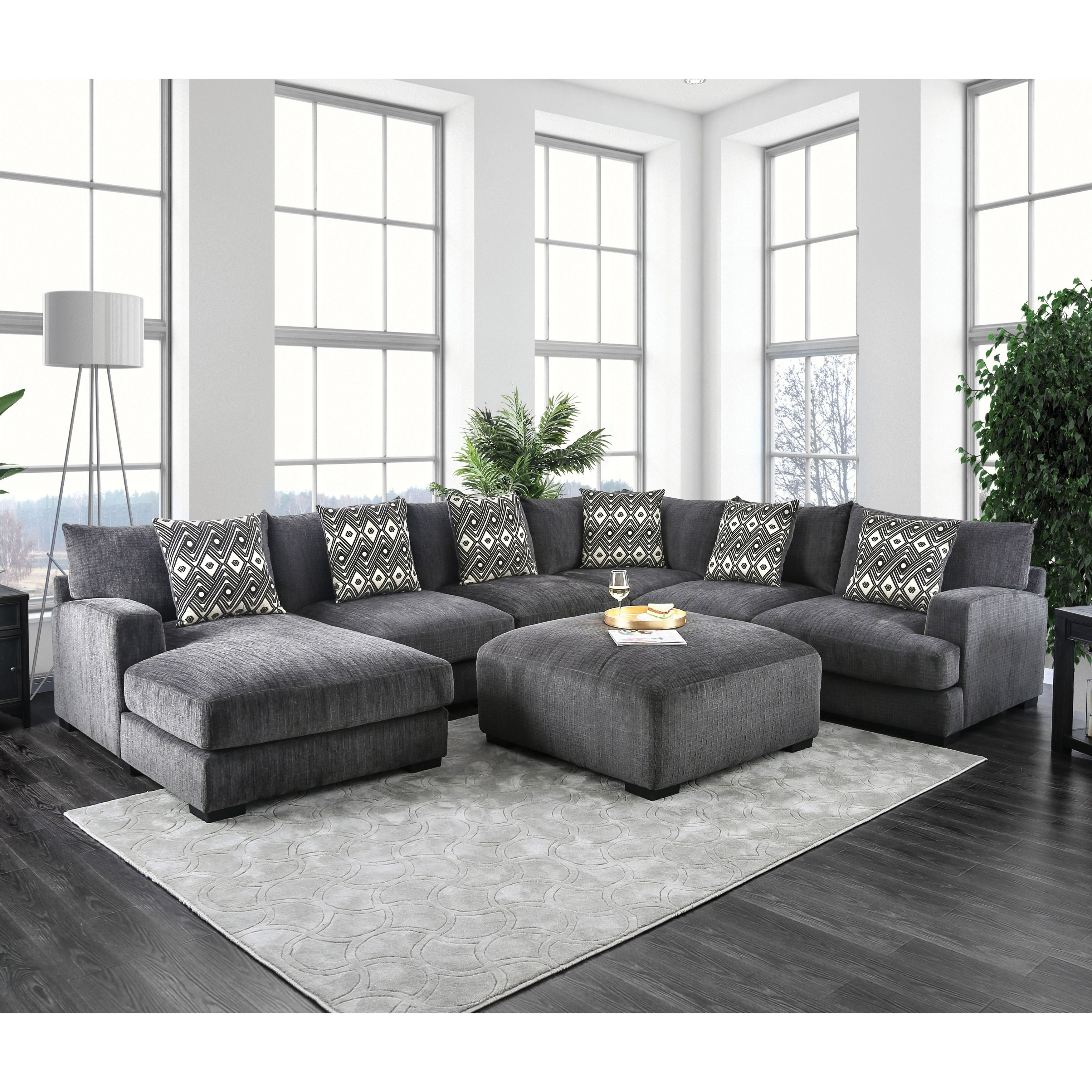 Furniture Of America Cleo Modular Grey Microfiber Chenille Sectional Fabric Living Room Sectional U Shaped Sectional Sofa Sectional Sofa