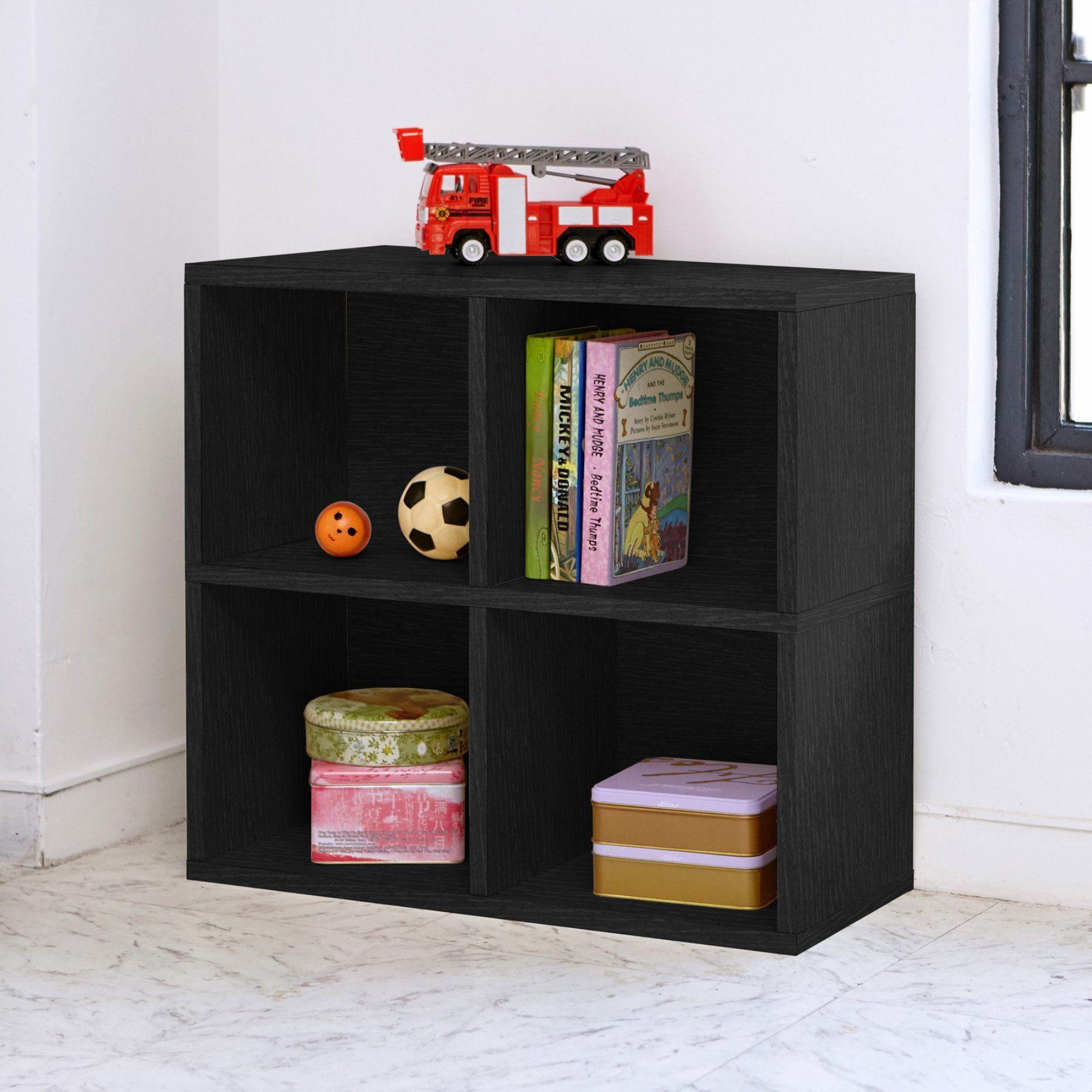 Way Basics Eco Friendly 4 Cubby Bookcase Wb 4cube 2 Bk Bookcase