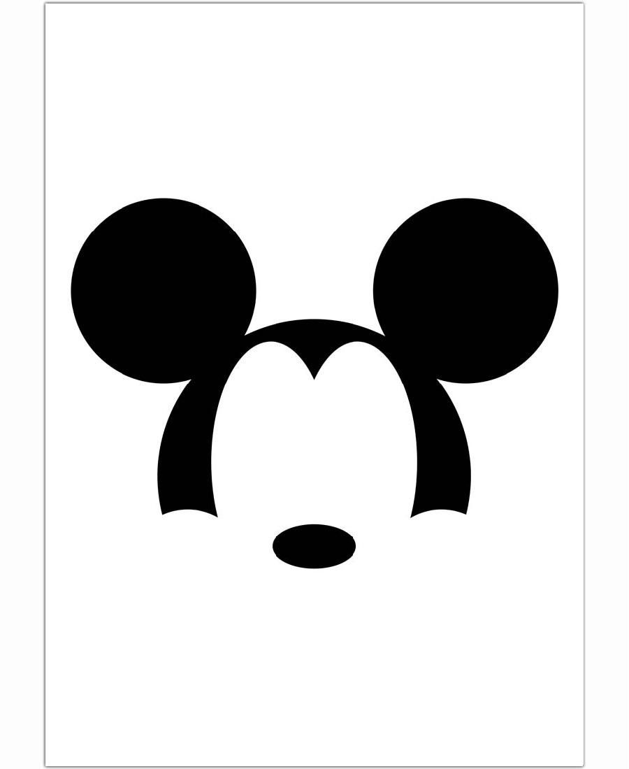 Mickey minimalist black white by francisco valle find for Minimal art black and white