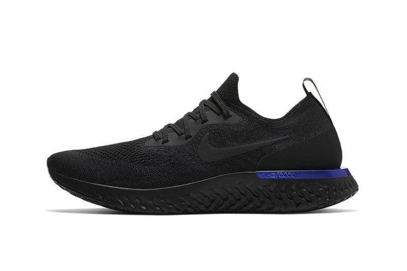 """b755d0a3a4f Nike s Epic React Flyknit Takes on A """"Black Racer Blue"""" Color Scheme ..."""