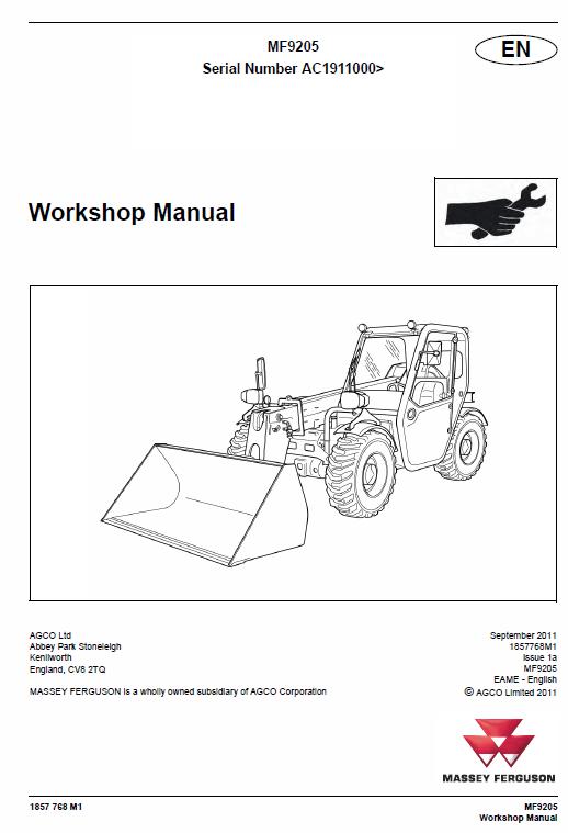 Massey Ferguson Mf 9205 Telescopic Handler Service Manual Massey Ferguson Manual Repair Manuals
