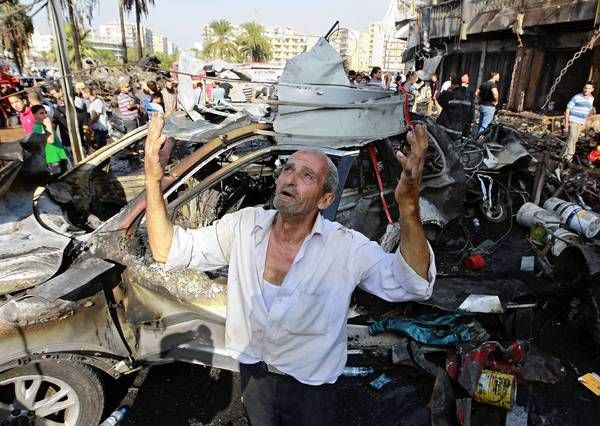 Lebanon car bombs explode near mosques, kill at least 42 Hundreds are wounded in the twin blasts, the latest in a series of apparently sectarian attacks as violence spills across the border from Syria.